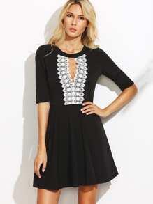 Black Keyhole Front Appliques Half Sleeve A Line Dress