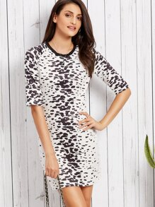 Black And White Leopard Print Half Sleeve Bodycon Dress