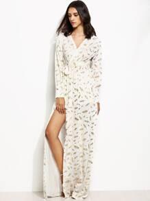 White Feather Print Wrap V Neck Side Slit Maxi Dress