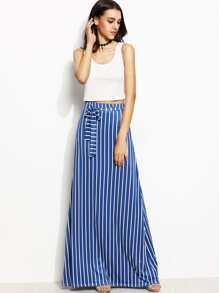 Crop Tank Top With Blue Vertical Stripe Tie Waist Maxi Skirt