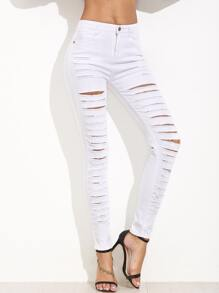 White Extreme Ripped Skinny Jeans