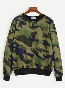 Army Green Camo Print Long Sleeve Sweatshirt