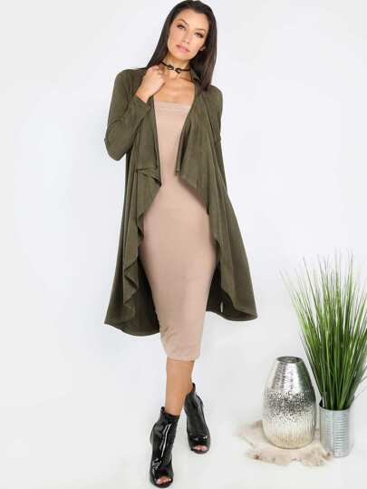 Suede Waterfall Duster Coat OLIVE
