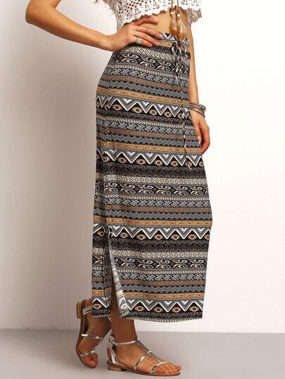 Multicolor Drawstring Waist Tribal Print Skirt