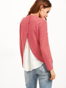 T-shirt à rayures avec broderie - rouge
