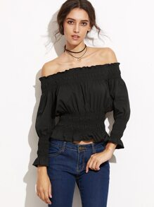 Black Off The Shoulder Elastic Ruffle Top