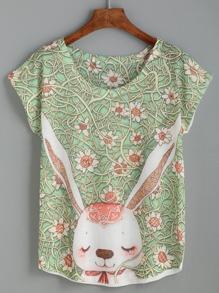 Green Rabbit And Vine Print T-shirt