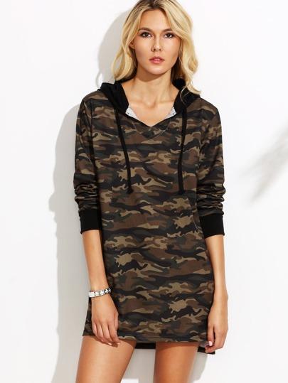 Camo Print High Low Hooded Sweatshirt Dress