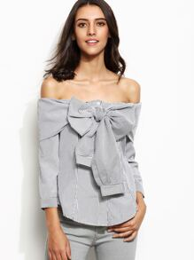 Contrast Vertical Striped Off The Shoulder Bow Tie Top