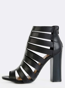 Open Toe Laser Cut Chunky Heels BLACK