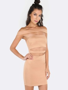 Off The Shoulder Cut Out Bandage Dress NUDE