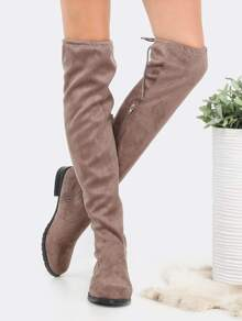 Flat Tie Back Suede Thigh Boots TAUPE