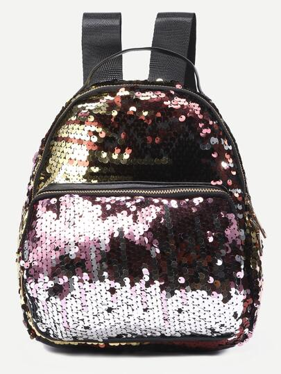 Faux Leather Sequin Backpack