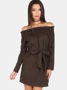 Open Shoulder Sleeved Waist Tie Dress OLIVE