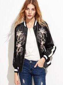 Black Flower Embroidery Raglan Sleeve Jacket