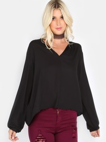 Gathered Long Sleeve Top BLACK