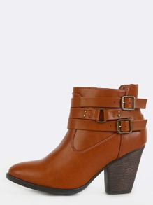 Strappy Almond Toe Ankle Booties CHESTNUT