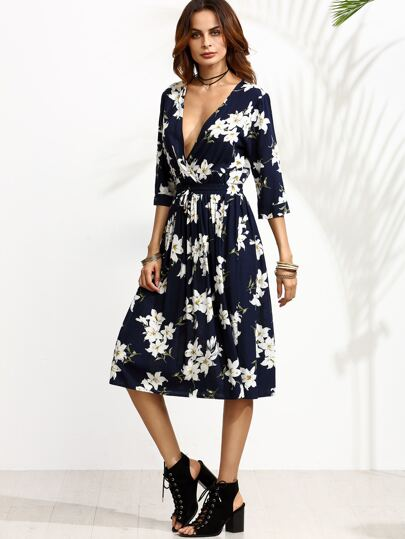 Navy Floral Print Deep V Neck Drawstring Dress