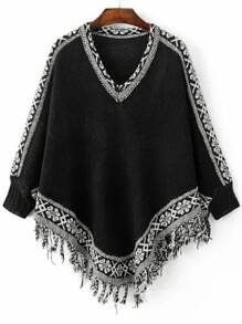 Black Tribal Pattern Fringe Cape Sweater