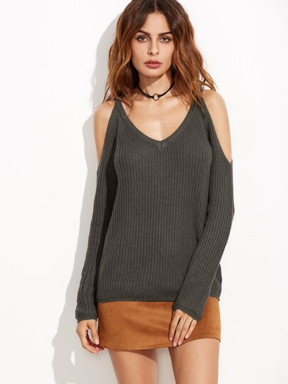 Brown Cold Shoulder Textured Sweater