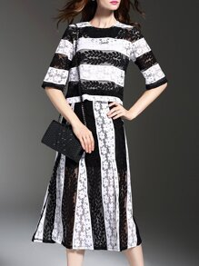 White Black Color Block Lace Top With Split Skirt