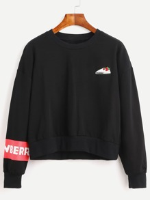 Black Drop Shoulder Letter Print Embroidered Sweatshirt