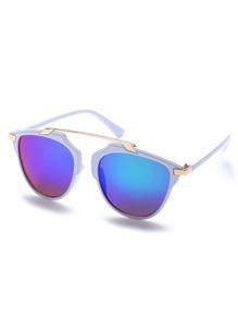 White Frame Metal Bridge Iridescent Lens Sunglasses