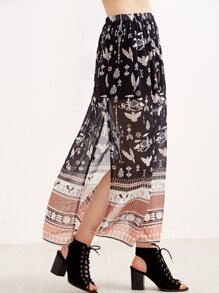 Black Birds Print Split Chiffon Maxi Skirt