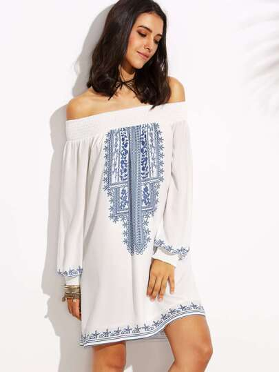 Blue Print in White Off The Shoulder Long Sleeve Dress