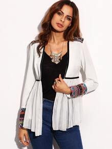 White Tape Detail Cuff Long Sleeve Outerwear