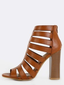Open Toe Cut Out Stacked Heels CHESTNUT