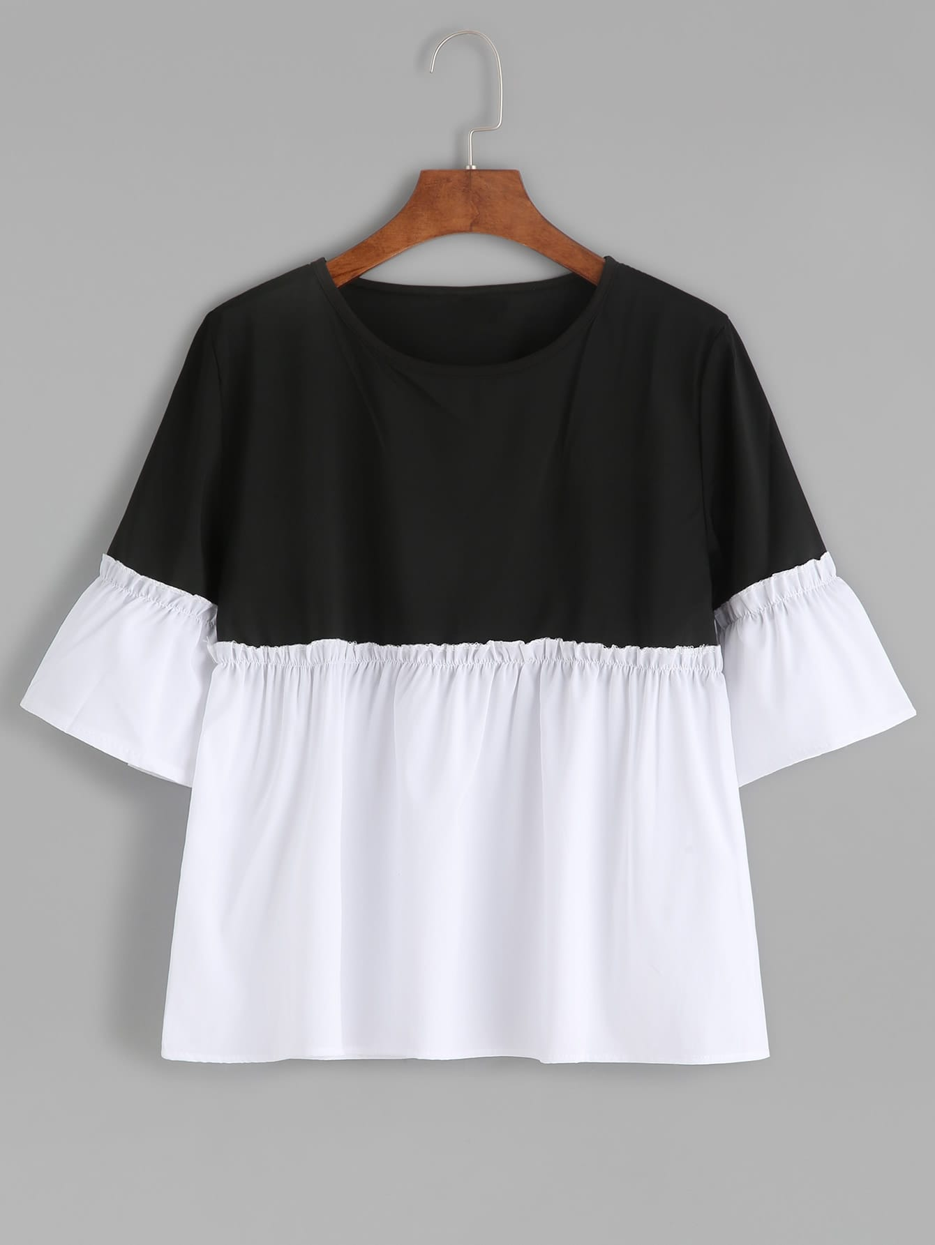 Two Tone Frill Trim Blouse two tone drop shoulder sweatshirt