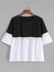 Two Tone Frill Trim Blouse
