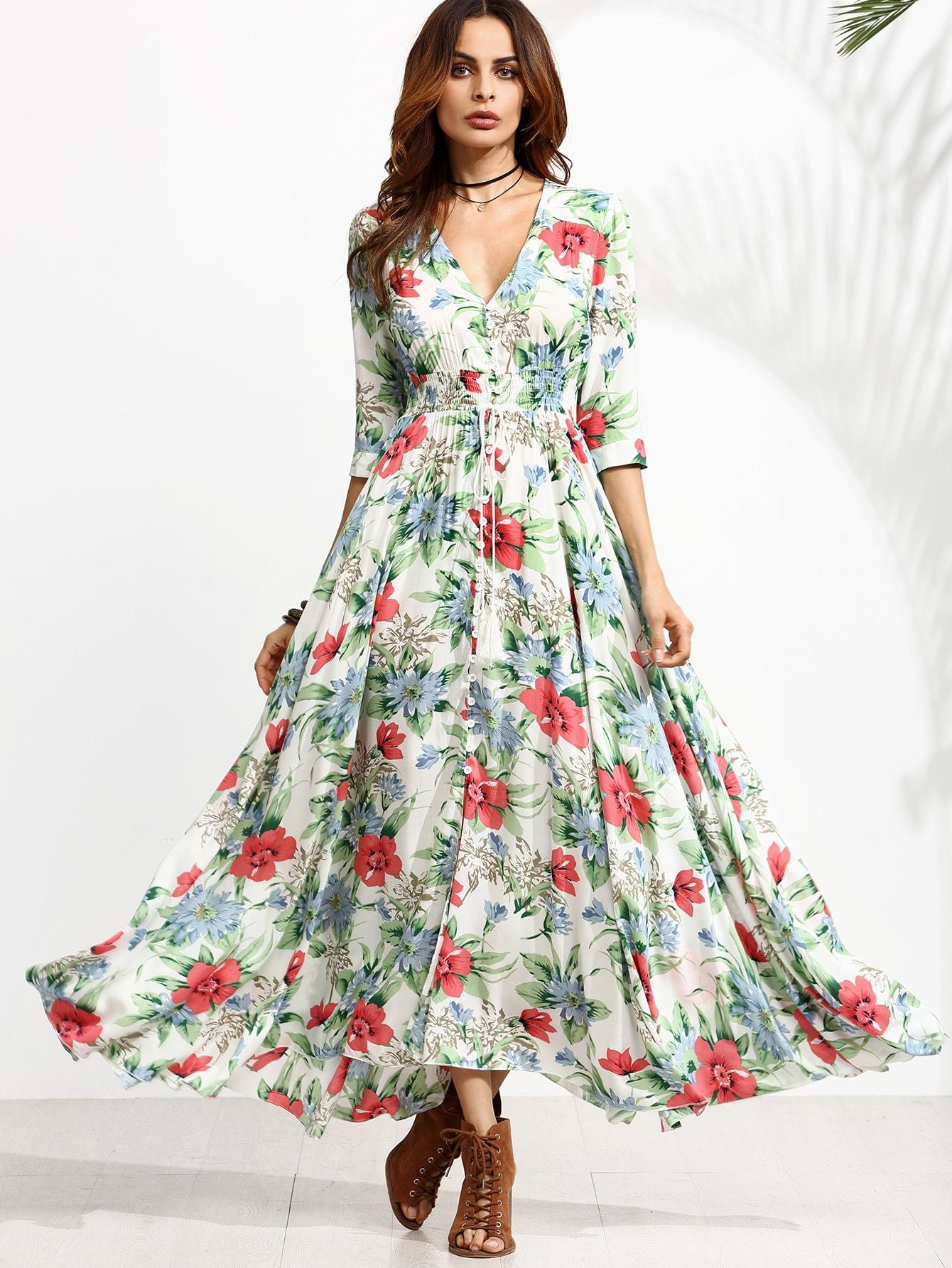 все цены на Floral Print Drawstring Button Front Swing Dress