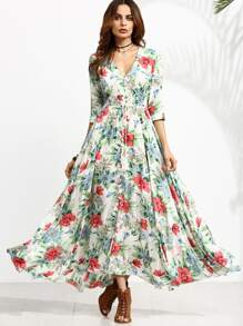 Floral Print Half Sleeve Drawstring Button Front Dress