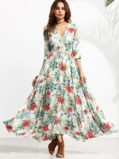 Floral Print Drawstring Button Front Swing Dress