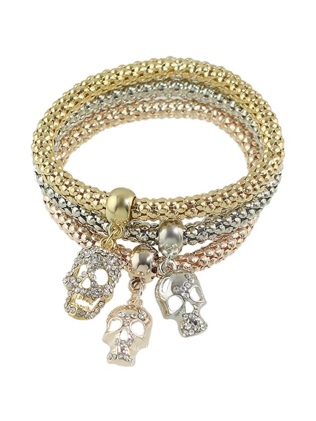 Multicolors Rhinestone Skull Charms Chain Bracelet Set