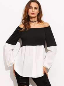 Contrast Panel Bardot Top