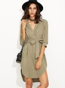 Khaki Self Tie Curved Hem Dip Hem Shirt Dress