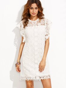 Beige Pom Pom Trim Cap Sleeve Appliques Dress