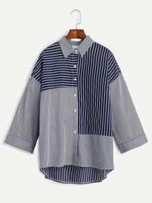 Navy Striped Drop Shoulder Dip Hem Shirt