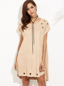 Suede Metal Eyelet Trim Curved Hem High Low Dress