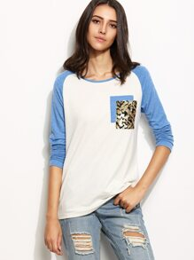 White Contrast Raglan Sleeve T-shirt With Sequin Detail