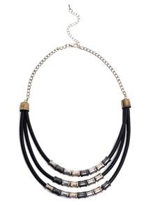 Black Fashion Pu Metal Necklace