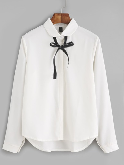 White Bow Tie Neck High Low Shirt