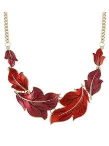 Red Enamel Maple Shape Statement Necklace