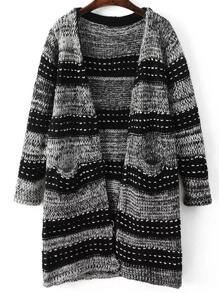 Grey Stripped Collarless Long Sweater Coat With Pockets