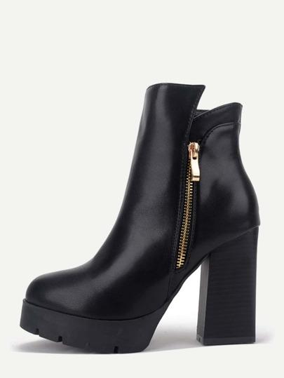 Black PU Side Zipper Short Boots