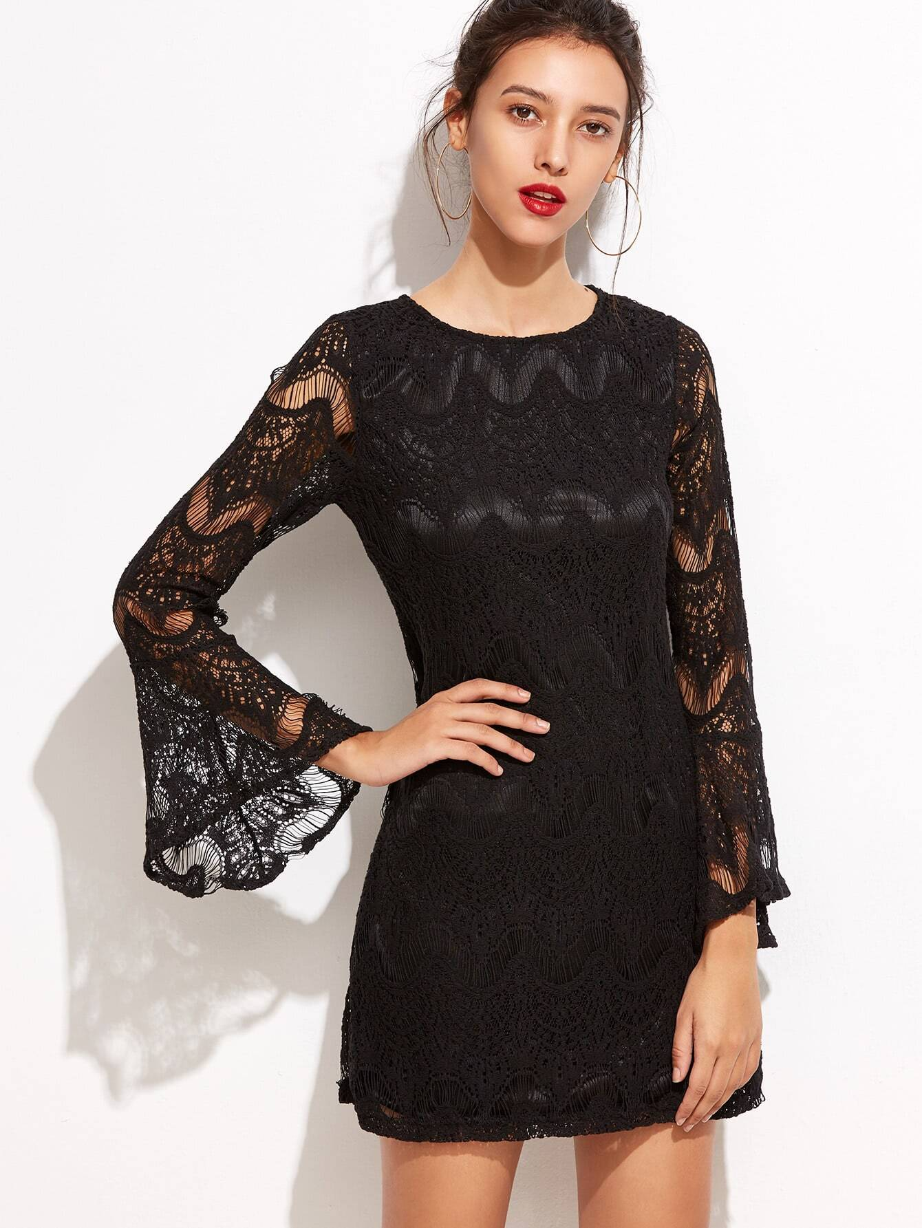 Black Bell Sleeve Lace Zipper Back DressBlack Bell Sleeve Lace Zipper Back Dress<br><br>color: Black<br>size: L,M,S,XL