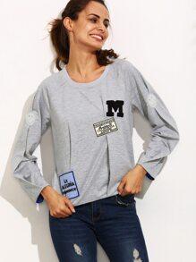 Grey Patchwork Round Neck Long Sleeve Sweatshirt